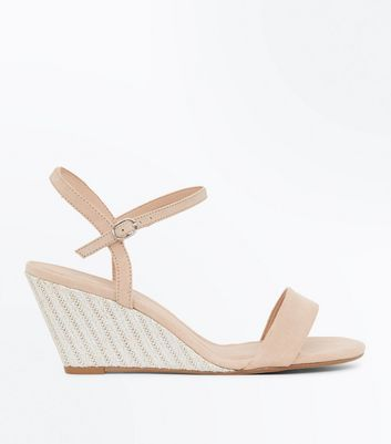 Wide Fit Nude Suedette Open Toe Espadrille Wedges by New Look