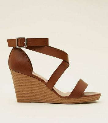 Wide Fit Tan Leather-Look Strappy Wood Wedges