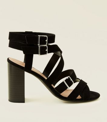 Wide Fit Black Suedette Strappy Heeled Sandals