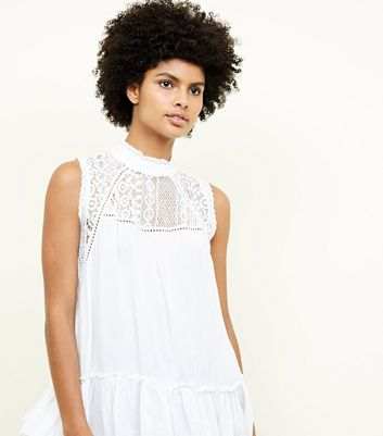 Qed White Lace Insert High Neck Top by New Look