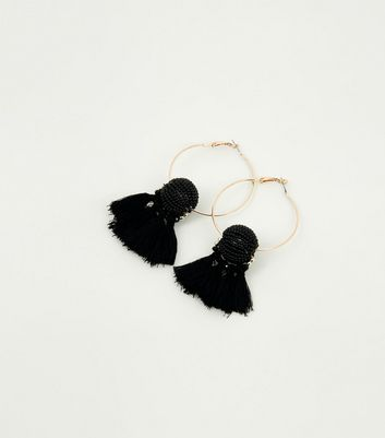 Black Beaded Orb and Tassel Hoop Earrings
