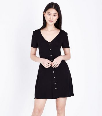 Petite Black Button Front Tea Dress