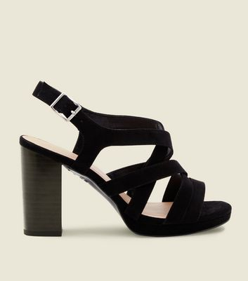 Wide Fit Black Suedette Strappy Platform Sandals