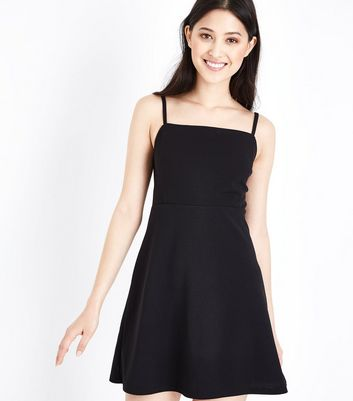 Petite Black Square Neck Skater Dress