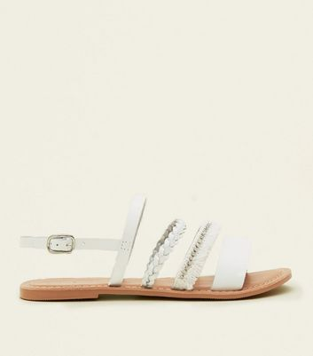 White Leather Plait Fringe Strap Sandals