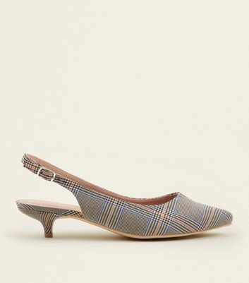 Wide Fit Grey Check Slingback Kitten Heels by New Look