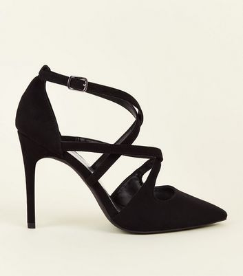 Wide Fit Black Suedette Strappy Court Shoes