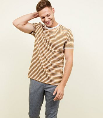 Camel Stripe Ringer Neck Oversized T-Shirt