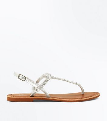 Teens Silver Leather Crystal Trim Flat Sandals