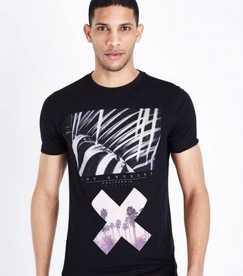 Black Cross Print Muscle Fit T-Shirt