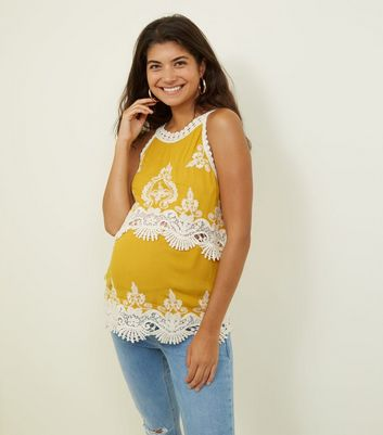 Maternity Mustard Crochet Trim Sleeveless Top