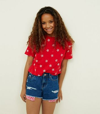 Girls Navy Red Pocket Ripped Denim Shorts
