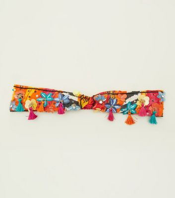 Multicoloured Floral Tassel Headband