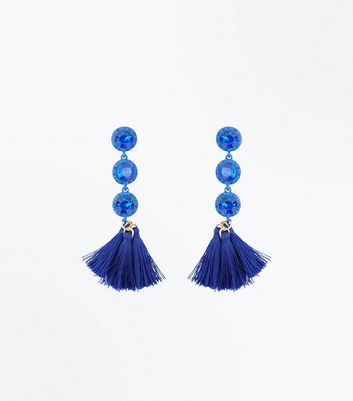 Blue Stone Tassel Drop Earrings