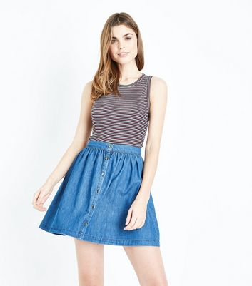 Blue Button Front Lightweight Denim Mini Skirt
