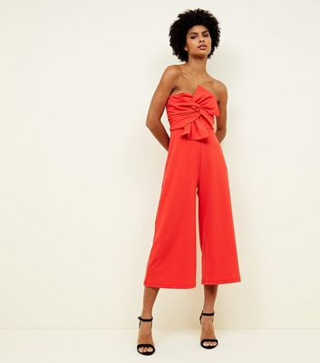 Coral Bow Front Strapless Culotte Jumpsuit