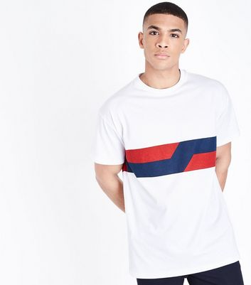 White Contrast Panel Printed T-Shirt