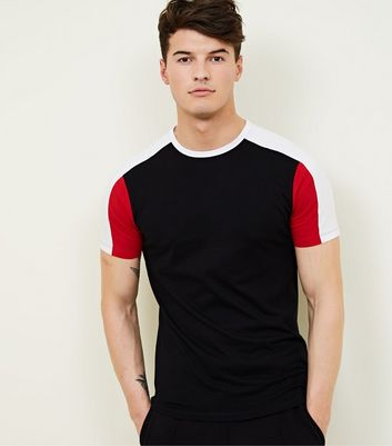 Red Colour Block Muscle Fit T-Shirt