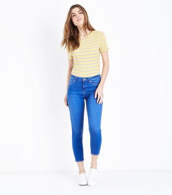 Bright Blue Cropped Skinny Jenna Jeans by New Look