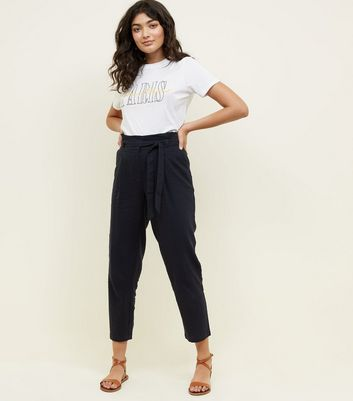 Navy Linen Blend Paperbag Trousers
