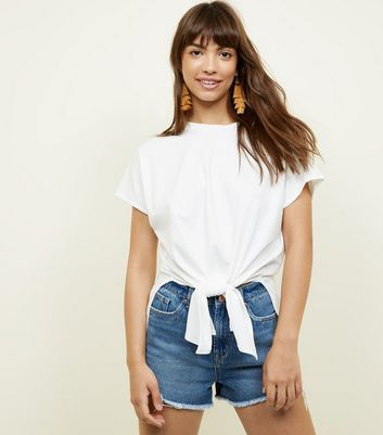 White Ribbed Tie Front T-Shirt