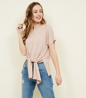 Pale Pink Ribbed Tie Front T-Shirt