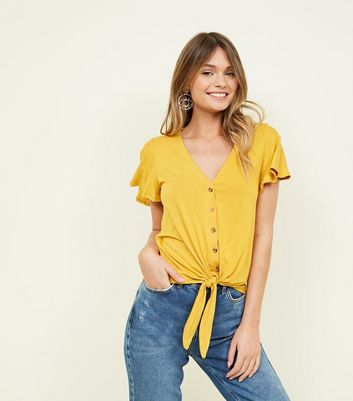 Mustard  Yellow Tie Button Front Top