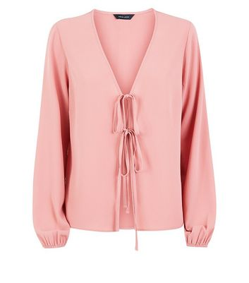 Pink Double Tie Front Blouse
