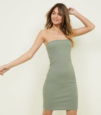 Olive Green Ribbed Bodycon Bandeau Dress