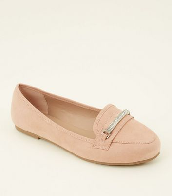 Wide Fit Nude Suedette Diamanté Bar Loafers