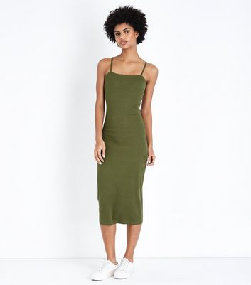 Khaki Ribbed Strappy Midi Dress