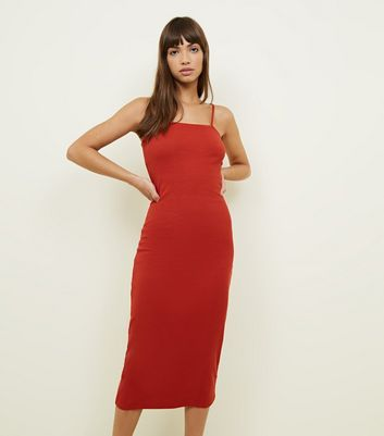 Dark Red Ribbed Square Neck Strappy Midi Dress by New Look