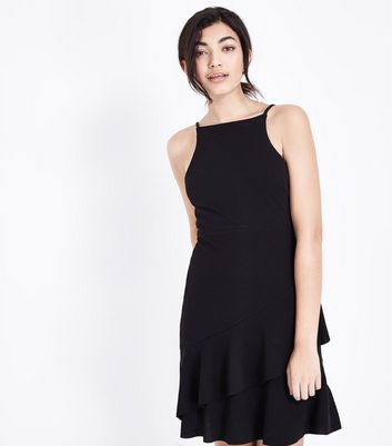 Black Asymmetric Ruffle Hem Mini Dress