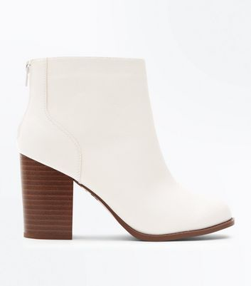 Wide Fit Off White Wood Block Heel Boots