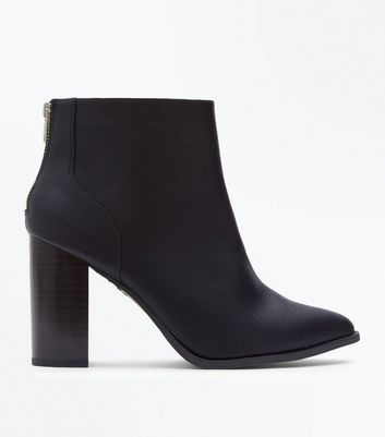 Wide Fit Black Pointed Block Heel Boots by New Look