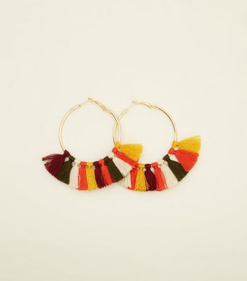Rainbow Tassel Hoop Earrings