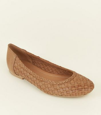 Tan Leather Woven Ballet Pumps