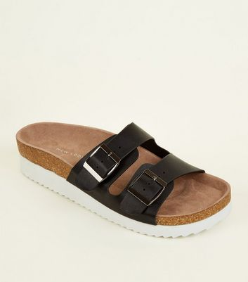 Wide Fit Black Double Buckle Strap Footbed Sandals