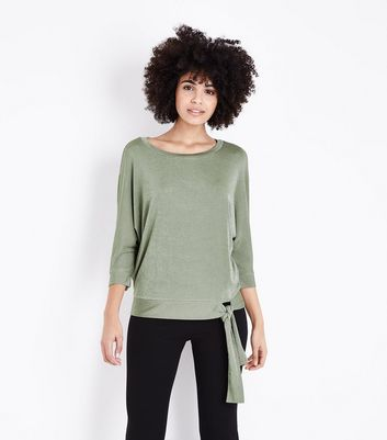 Khaki High Shine Tie Waist Top