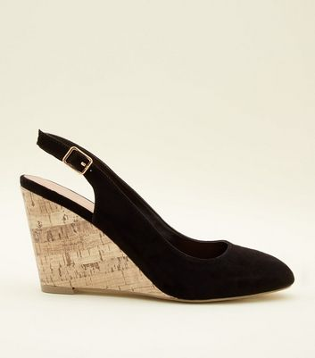 7d33836fab2 Shoptagr | Black Suedette Slingback Cork Wedges by New Look