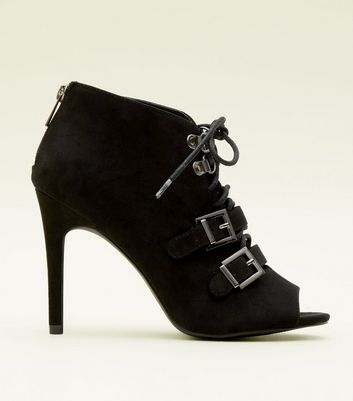 Black Lace Up Peep Toe Shoe Boots
