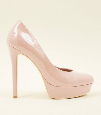 Nude Leather-Look Platform Court Heels