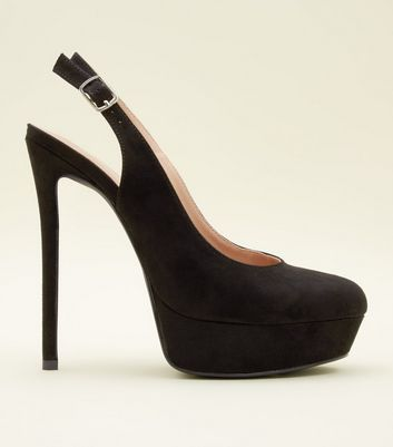 Black Suedette Stiletto Heel Platform Slingbacks by New Look