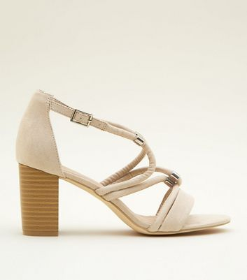 Nude Suedette Linked Tube Strap Block Heels