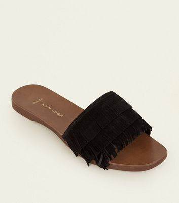 Wide Fit Black Suede Fringed Sliders