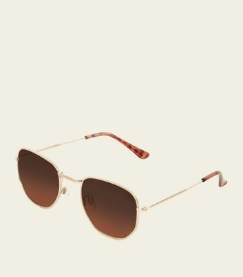 Gold Tinted Hexagonal Frame Sunglasses
