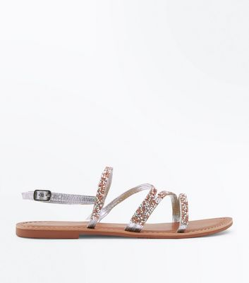 Wide Fit Silver Leather Gem Embellished Sandals by New Look