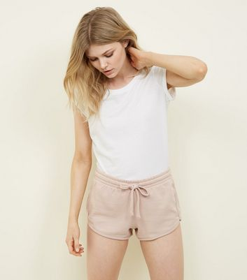 Petite Pale Pink Jersey Runner Shorts