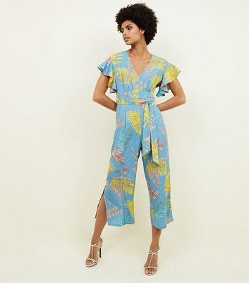 Blue Vanilla Blue Tropical Frill Sleeve Culotte Jumpsuit