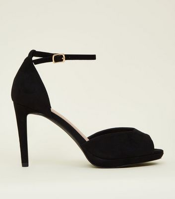Wide Fit Black Suedette Peep Toe Ankle Strap Heels